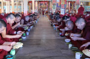 Monks enjoying breakfast together