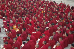 Monks of Sere Je Monastery offering puja.