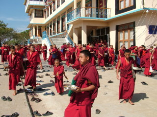 Monks at Sera Je Monastery after lunch sponsored by the Sera Je Food Fund.