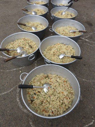 Rice and vegetables is typically offered as part of the nutritious vegetarian lunch provided to 2,500 monks through the Sera Je Food Fund.
