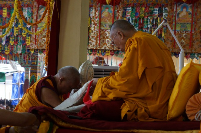 Lama Zopa Rinpoche making offerings for His Holiness the Dalai Lama's long life at the conclusion of this year's Jangchub Lam-Rim teaching event at Sera Je Monastery.