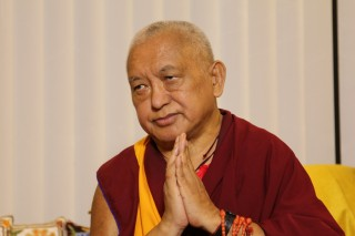 Lama Zopa Rinpoche in South India, Jan 2014.  Photo by Ven Roger Kunsang