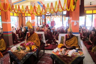 Dagri Rinpoche and Keutsang Rinpoche both took part in the Losar long life puja for Lama Zopa Rinpoche.