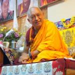 Lama Zopa Rinpoche teaching at Choe Khor Sum Ling, Bangalore, India, March 2014. Photo by Ven Roger Kunsang