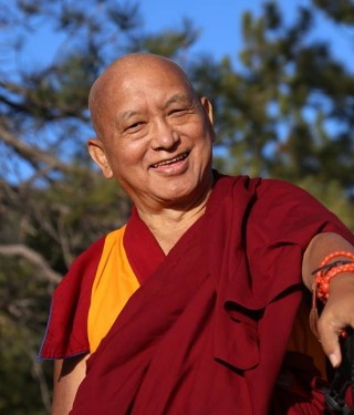 Lama Zopa Rinpoche at Buddha Amitbha Pure Land, WA, April 2014. Photo by Ven. Thubten Kunsang