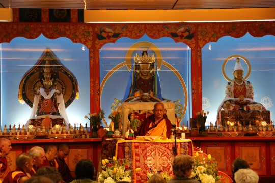 Lama Zopa Rinpoche teaching at Maitripa College, Portland, OR, April 2014. Photo by Ven. Thubten Kunsang.