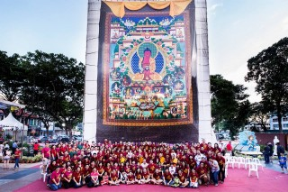 Amitabha Buddhist Centre, Singapore, has a beautiful 50 feet high thangka that they unfurl for celebrations.