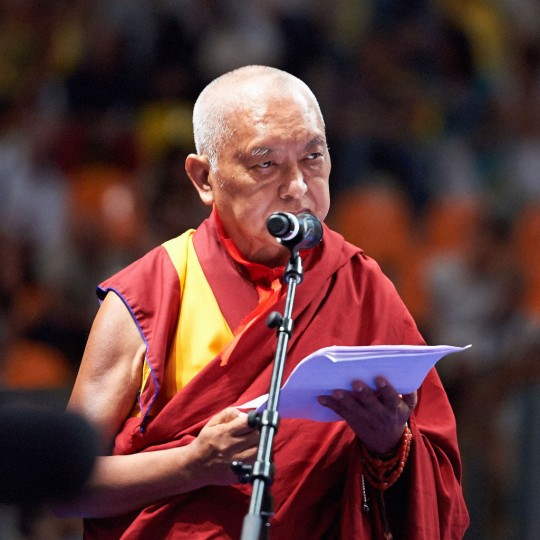 Lama Zopa Rinpoche offering thanks and praise to His Holiness the Dalai Lama, Livorno, Italy, June 15, 2014. Photo by Olivier Adam.