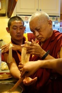Rinpoche making the noodles for thukpa.