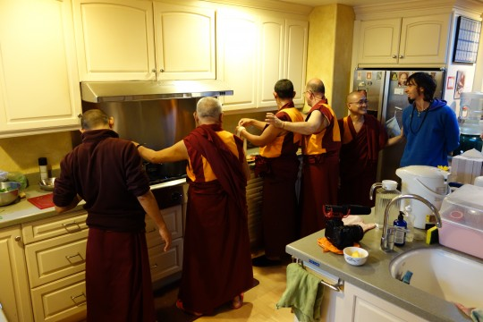 Lama Zopa Rinpoche helping Sangha make a special thukpa for Osel's visit to Kachoe Dechen Ling.