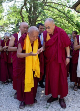 Lama Zopa Rinpoche with His Holiness the Dalai Lama, Istituto Lama Tsong Khapa, Italy,  June 2014. Photo courtesy of  Matteo Mangherini/Dalai Lama Italia.