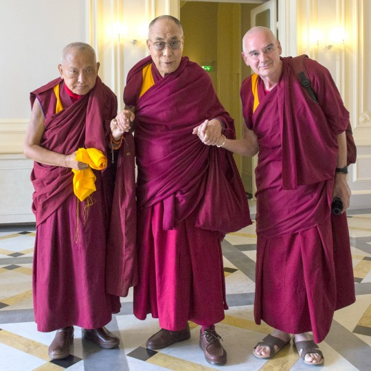 His Holiness the Dalai Lama with Lama Zopa Rinopche and Ven. Roger Kunsang, Livorno, Italy, June 16, 2014. Photo by Matteo Passigato.
