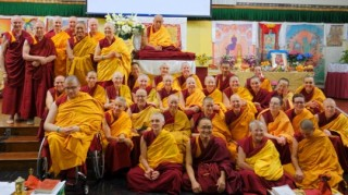 Lama Zopa Rinpoche with FPMT Sangha during the Light of the Path Retreat, May 2014.