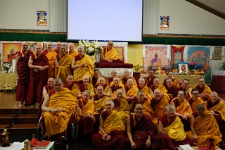 Lama Zopa Rinpoche with FPMT Sangha at the Light of the Path Retreat, NC, USA, May 2014.