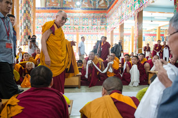 His Holiness the Dalai Lama arriving at Sera Monastery in Bylakuppe, Karnataka, India on December 24, 2013. Photo/Tenzin Choejor/OHHDL