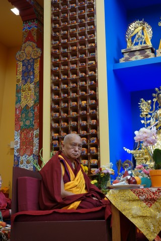 Lama Zopa Rinpoche at the long life puja for Geshe Sopa Rinpoche at Deer Park Buddhist Center, US, July 2014. Photo by Ven. Roger Kunsang.