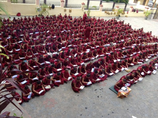 800 young monks of the Serea Je School are offered breakfast daily through the Sera Je Food Fund. Photo courtesy of Sera Je Secondary School  Facebook.
