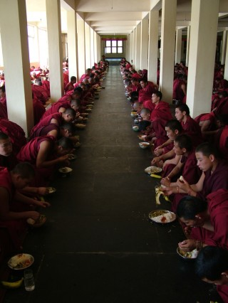 Monks enjoying lunch