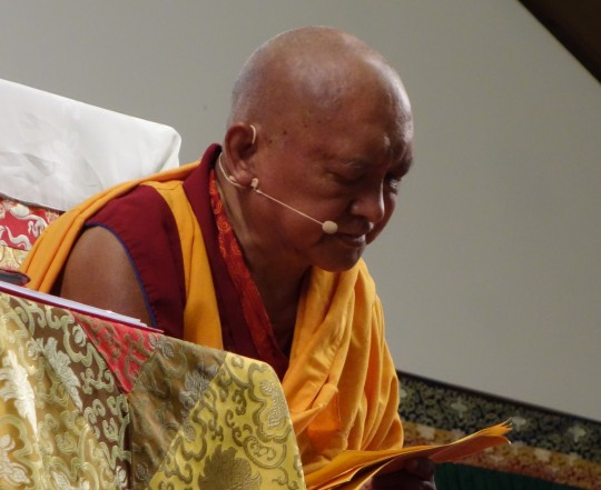 Lama Zopa Rinpoche teaching at the Light of the Path Retreat, May 2014, North Carolina, USA.