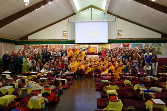 Lama Zopa Rinpoche with Light of the Path retreatants, May 2014, North Carolina, USA.