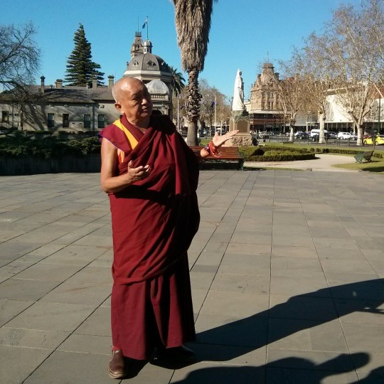 Lama Zopa Rinpoche giving spontaneous teaching on making offerings in Bendigo, Victoria, Australia, September 21, 2014. Photo by Laura Miller.