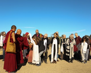 Offering khatas to Lama Zopa Rinpoche at the beginning of CPMT 2014, Great Stupa of Universal Compassion, Australia, Photo by Ven. Thubten Kunsang.