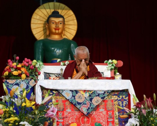 Lama Zopa Rinpoche during retreat at Great Stupa of Universal Compassion, Australia, October 2014. Photo by Ven. Thubten Kunsang.