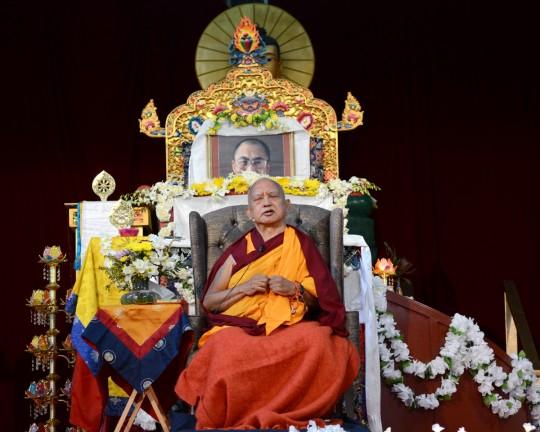 Lama Zopa Rinpoche during the public talk at the Great Stupa of Universal Compassion, Bendigo, Australia, September 20, 2014. Photo by Kunchok Gyaltsen.