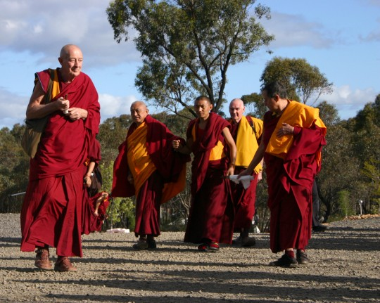 Lama Zopa Rinpoche arriving at the Great Stupa of Universal Compassion, Australia, October 2014. Photo by Cynthia Karena.
