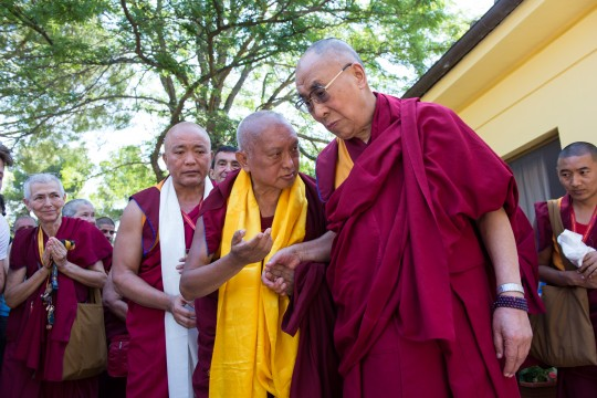 His Holiness the Dalai Lama with Lama Zopa Rinpoche in Italy earlier this year.