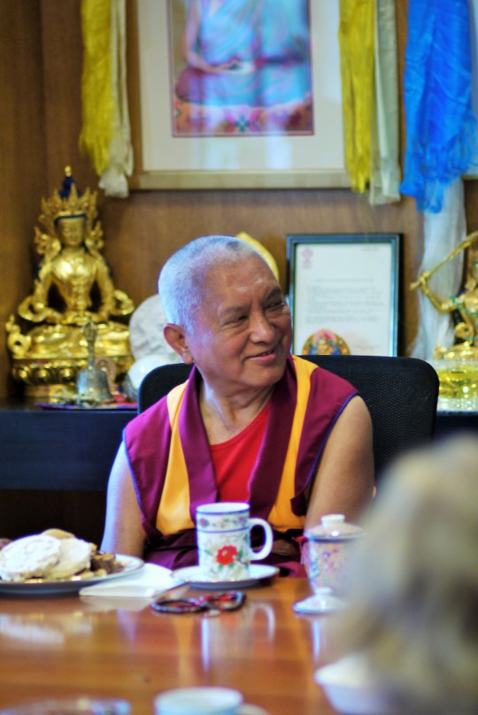 Lama Zopa Rinpoche having tea with International Office staff, June 2012. Photo by Ven. Thubten Kunsang.