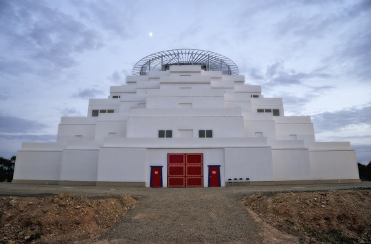 Moon over Great Stupa of Universal Compassion, Australia, September 15, 2014. Photo by Andy Melnic.