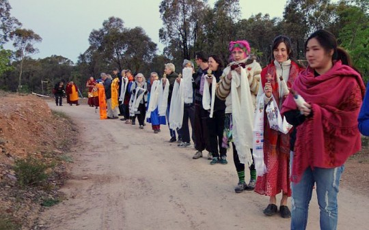 Procession leading Lama Zopa Rinpoche to gompa at Great Stupa of Universal Compassion, Australia, October 2014. Photo by Ven. Roger Kunsang.