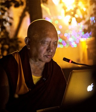 Golden Light recitation at Mahabodhi Stupa,  Bodhgaya, India, March 2014, Photo by Andy Melnic.