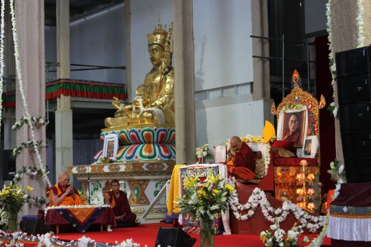 Lama Zopa Rinpoche during long life puja with Geshe Doga, Great Stupa of Universal Compassion, Australia, September 19, 2014. Photo by Laura Miller.