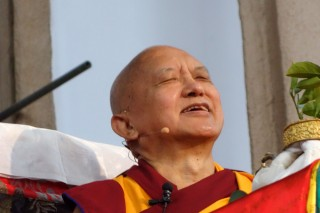 Lama Zopa Rinpoche teaching during the retreat in the Great Stupa of Universal Compassion, Bendigo, Australia, September 2014. Photo by Ven. Roger Kunsang
