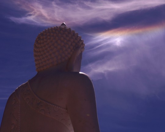 Parhelia appear in the sky above the newly situated Amitabha Buddha statue, Buddha Amitabha Pure Land, Washington, US, July 1, 2014. Photo by Merry Colony.