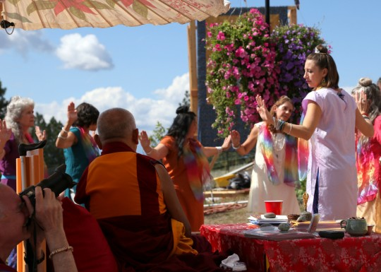 Tara dancers, Amitabha celebration day, Buddha Amitabha Pure Land, Washington, US, August 2014. Photo by Ven. Thubten Kunsang.