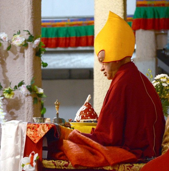 Lama Zopa Rinpoche at long life puja held during the CPMT meeting, September 19, 2014. Photo by Kunchok Gyaltsen.