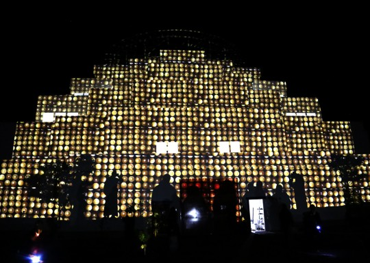 Light offerings projected on to the Great Stupa of Universal Compassion, Australia, October 2014. Photo by Ven. Thubten Kunsang.
