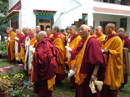 FPMT geshes awaiting the arrival of His Holiness the Dalai Lama, 2006 FPMT Geshe Conference, Sarnath, India.