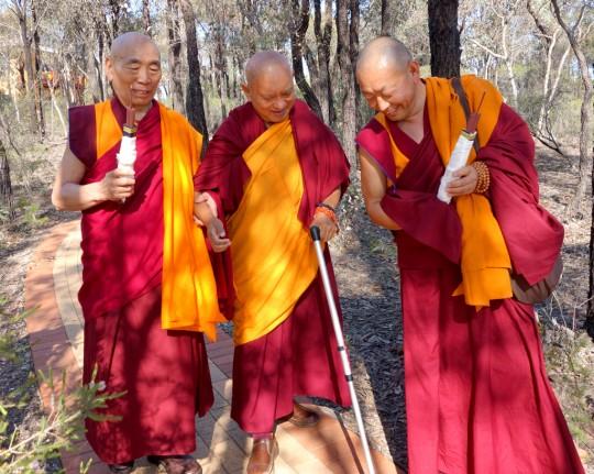Lama Zopa Rinpoche being led to the long life puja by GesheDogaandGesheWangchen, Bendigo, Australia, October 2014. Photo by Ven. Roger Kunsang.