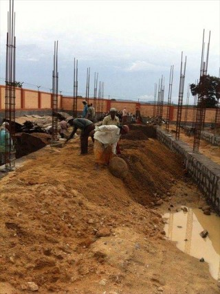 The foundation for a new prayer hall at Ngari Khangsten is complete.