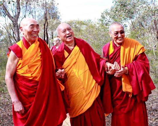 Lama Zopa Rinpoche with Geshe Doga and Khen Rinpoche Geshe Chonyi, Thubten Shedrup Ling, Bendigo, Australia, September 2014. Photo by Ven. Lobsang Sherab.