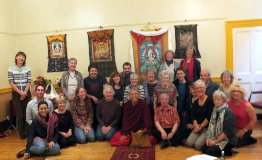 Geshe Tashi Tsering teaches on buddha nature to the students of Jamyang Bath Study Group, UK, October 2014. Photo courtesy of Sandra Whilding.