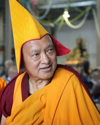 Lama Zopa Rinpoche leaving long life puja, Australia, September 2014. Photo by Ven. Thubten Kunsang.