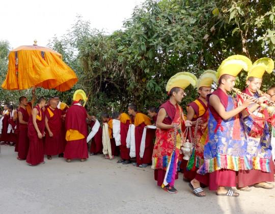 Lama Zopa Rinpoche arriving at Kopan Monastery, Nepal, November 2014. Photo by Ven. Roger Kunsang.