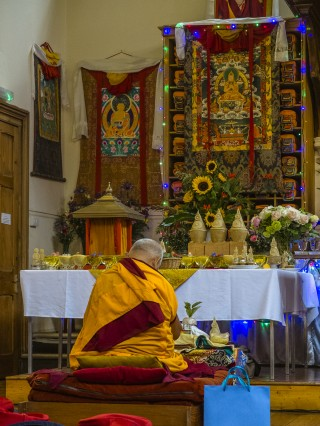 Lama Zopa Rinpoche preparing for initiation, Jamyang Buddhist Centre, London, UK, July 2014. Photo by Pierre Aloize.