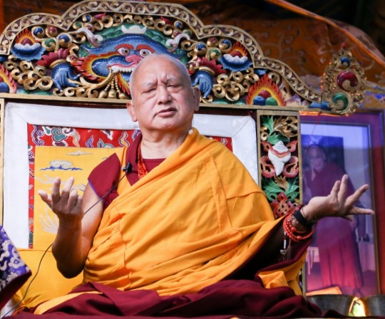 Lama Zopa Rinpoche teaching at the annual November course at Kopan Monastery, Nepal, December 2014. Photo by Ven. Thubten Kunsang.