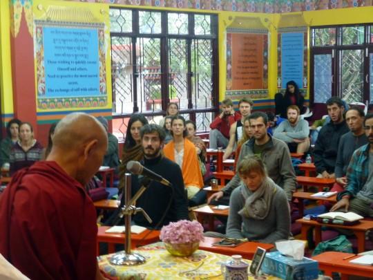Gen Gyatso teaching at Tushita, Dharamsala, India, September 2014. Photo courtesy of Tushita Meditation Centre.